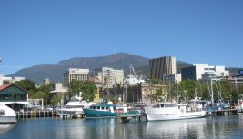 Mt Wellington, Hobart city from Victoria Dock.